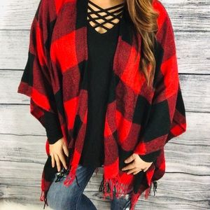 Other - Red plaid fringe poncho